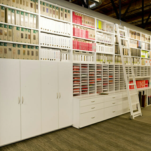 Modular Casework Storage Wall for Architect Materials and Storage
