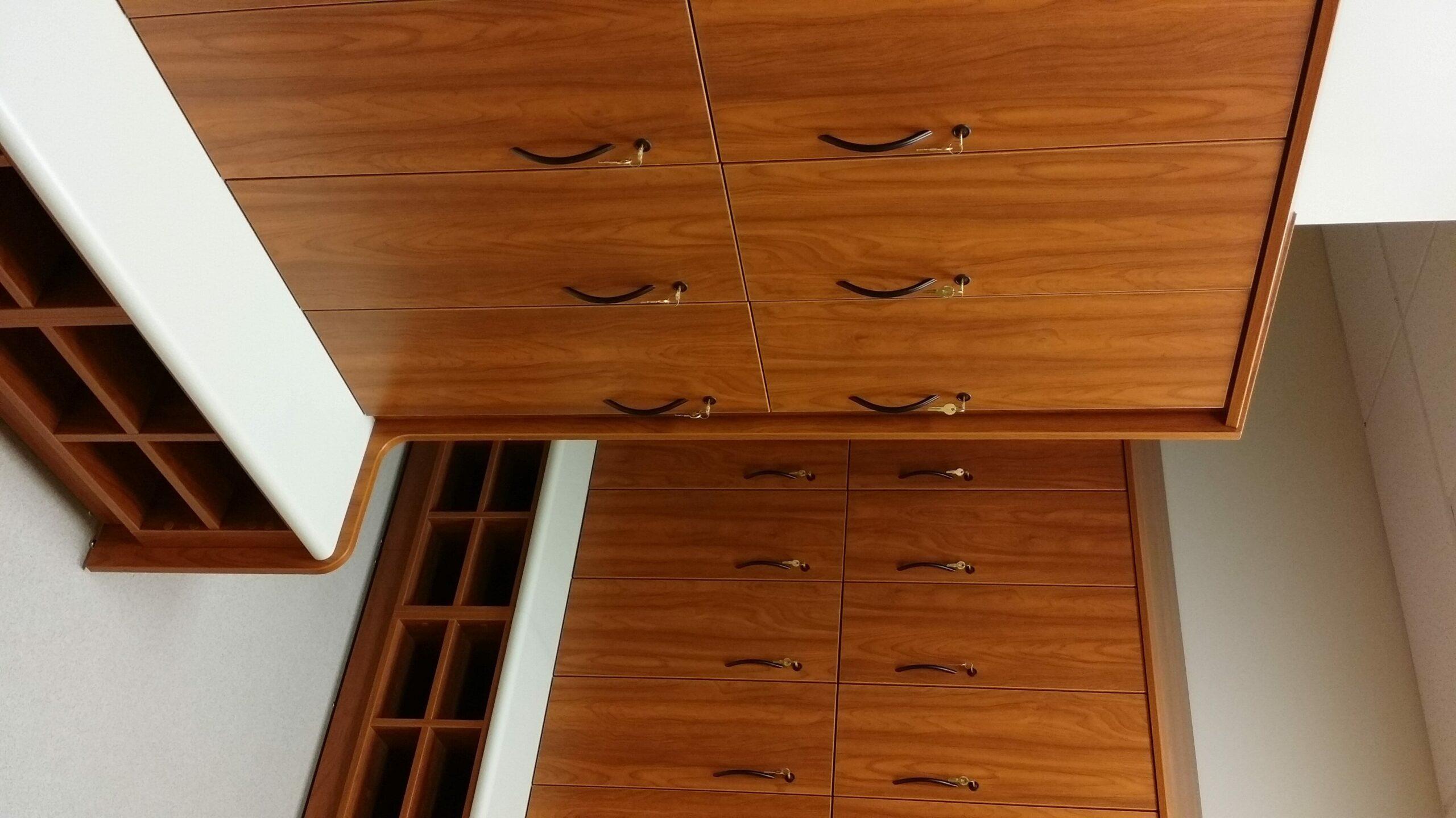 Wood veneer gym lockers with built in shoe cubbies