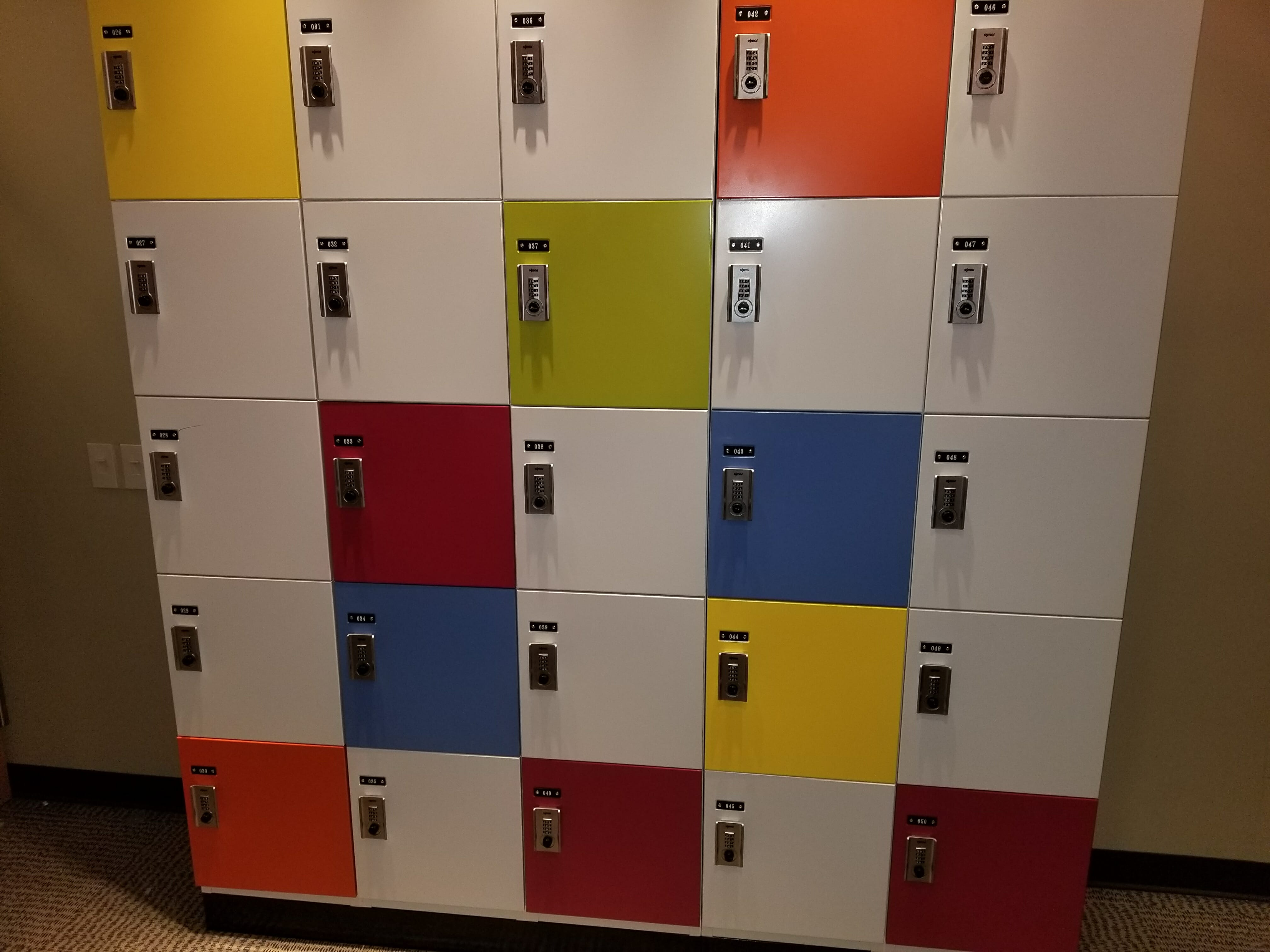 Random style day use cabinets with multi color doors