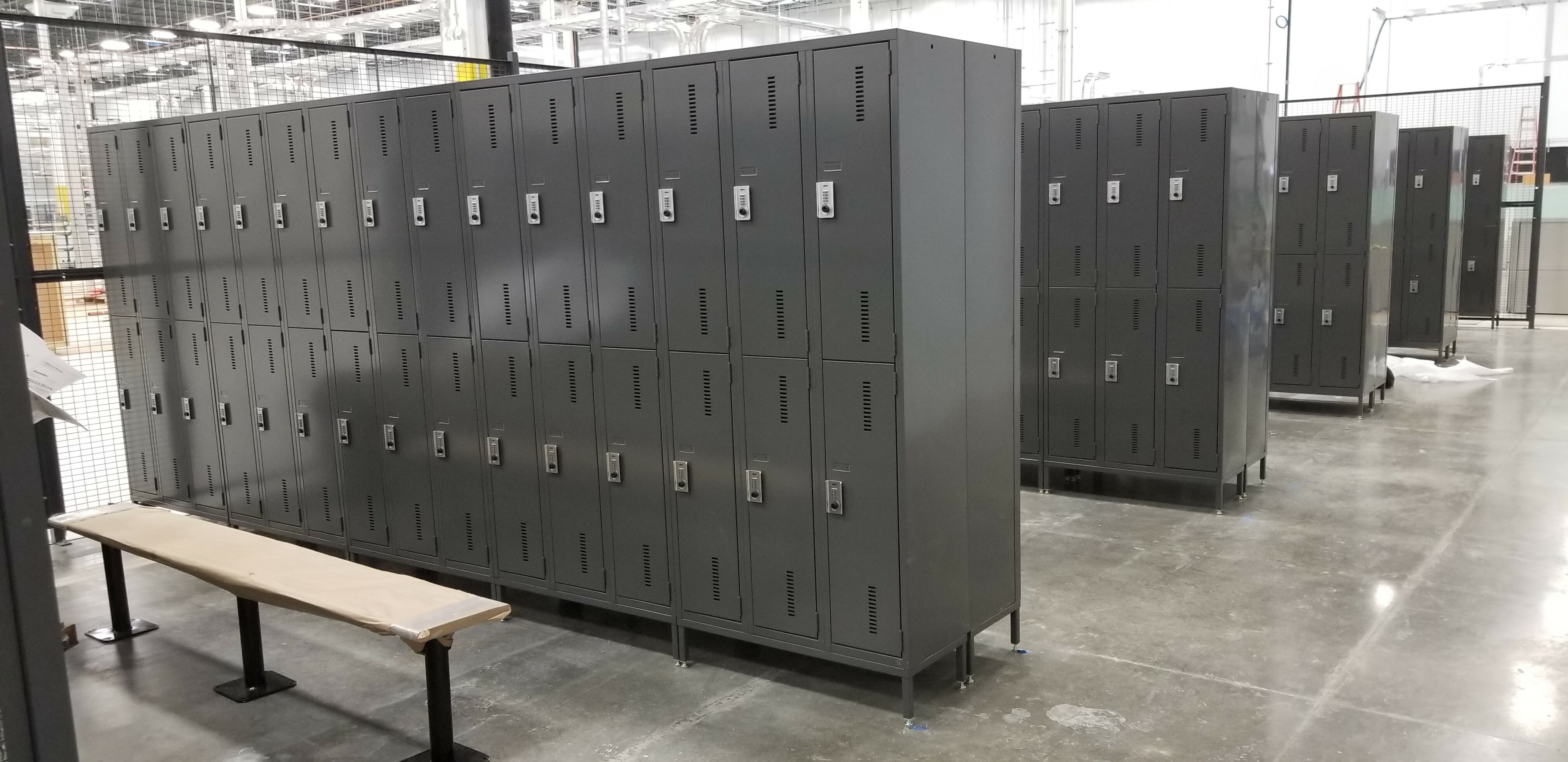 Two tier metal lockers with legs