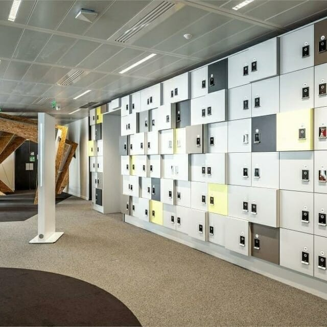 Day-Use Lockers Integrated into Open Office Design