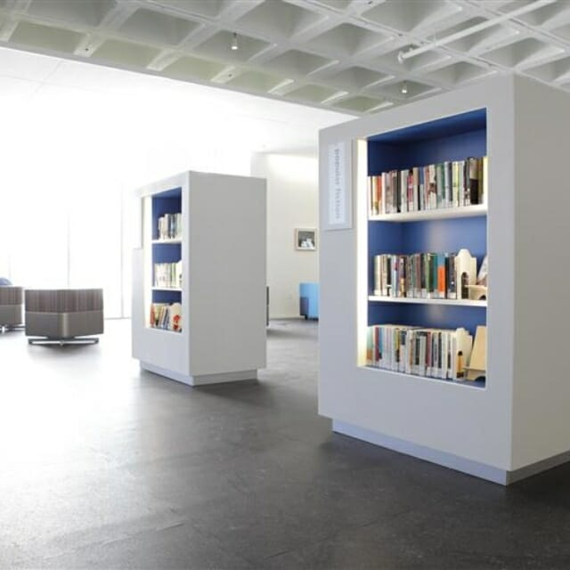 wall partitions with integrated lighting and shelving