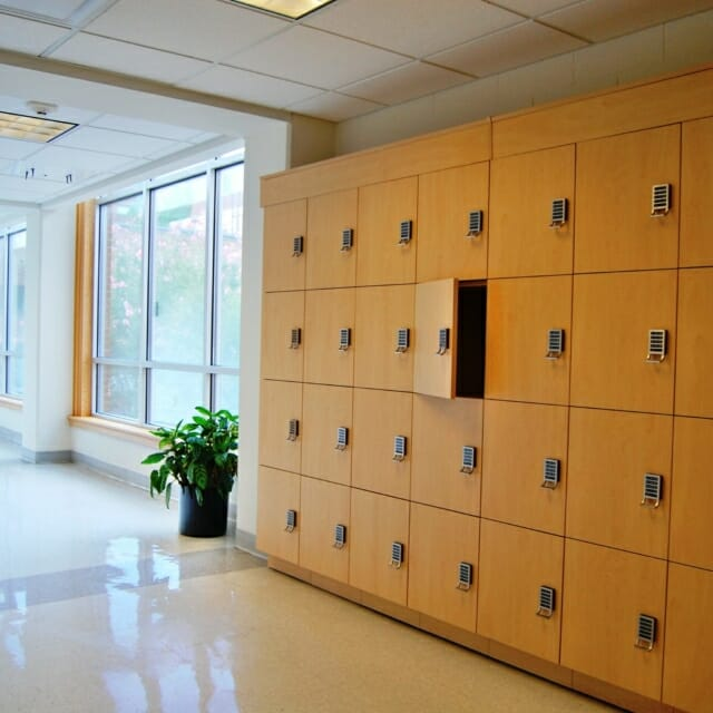Day-Use Lockers in Corridor of Building