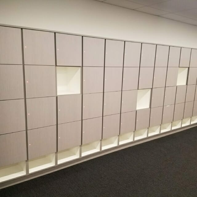 Day-Use Laminate Lockers at Office Space with Open Cubbies and RFID Locks