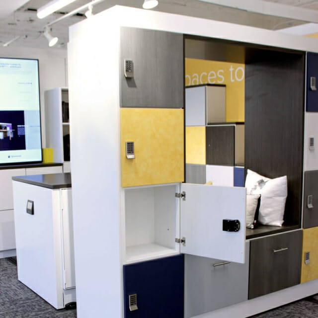 Movable Walls with Built-in Seating and Day-Use Lockers