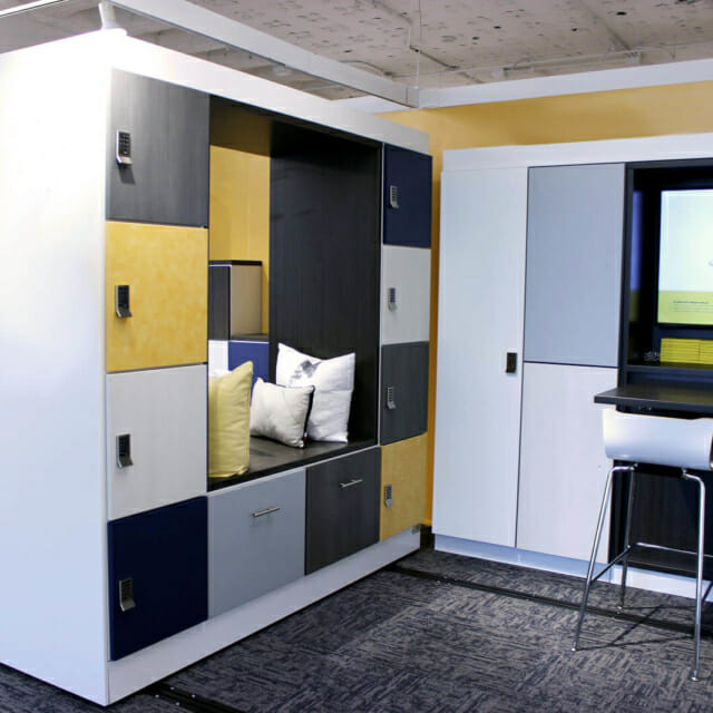 Movable Wall with Integrated Seating