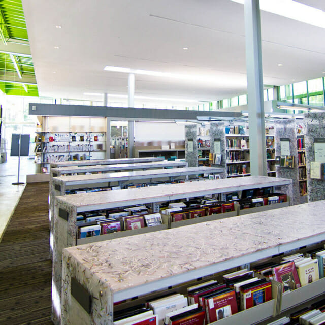 LEED Library Design Ideas Recycled Content on Library Shelving