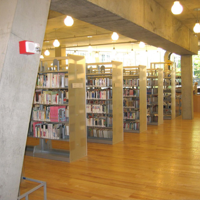 Library Shelving with Acrylic End-Panels for Lighting