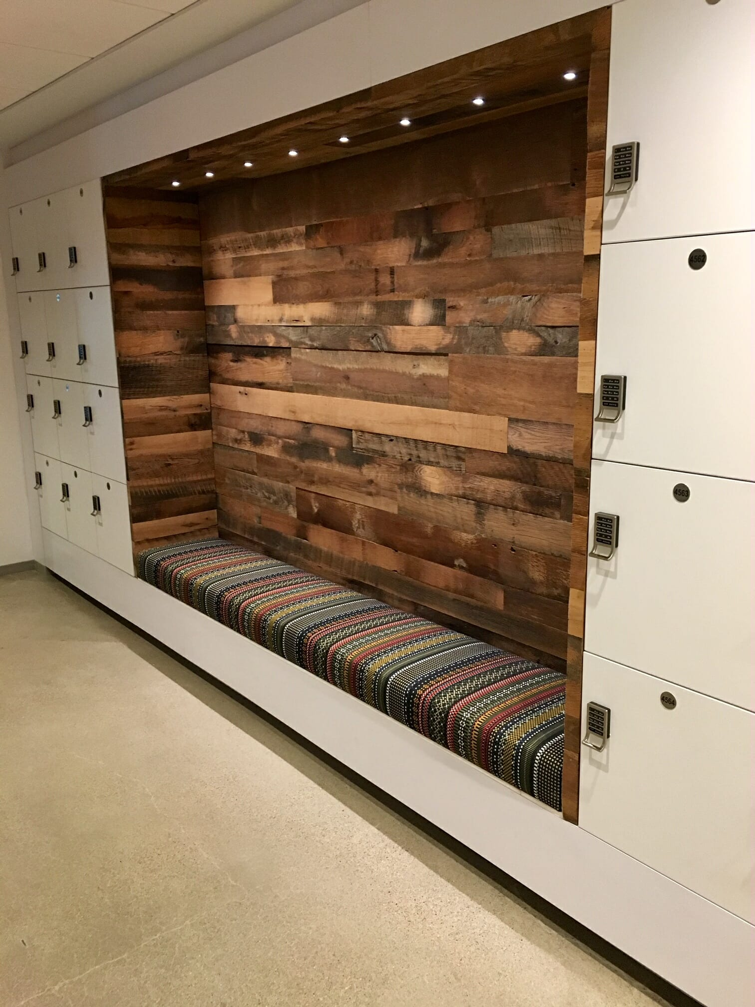 Casework storage lockers with seating