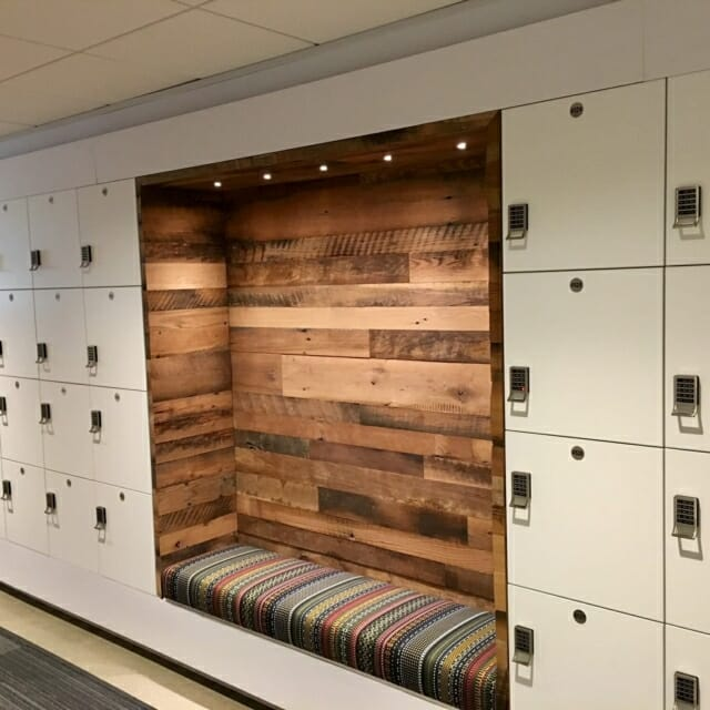 Integrated Seating with Day Use Lockers Hamilton Casework