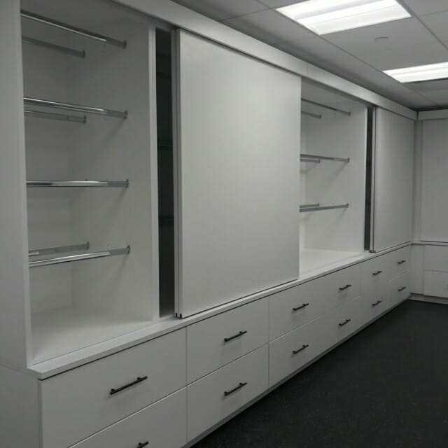 Sample Storage in Storage Wall with Sliding Panels