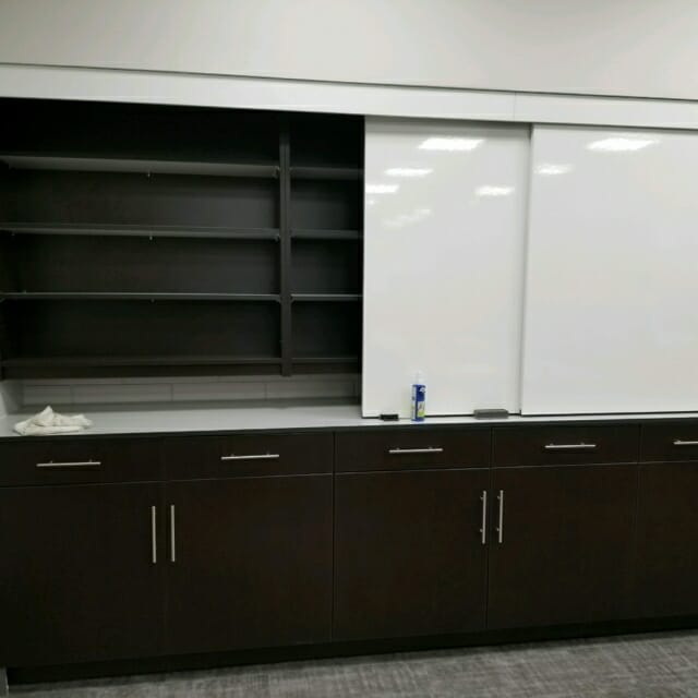 Hamilton Casework Sliding Whiteboards and Shelving
