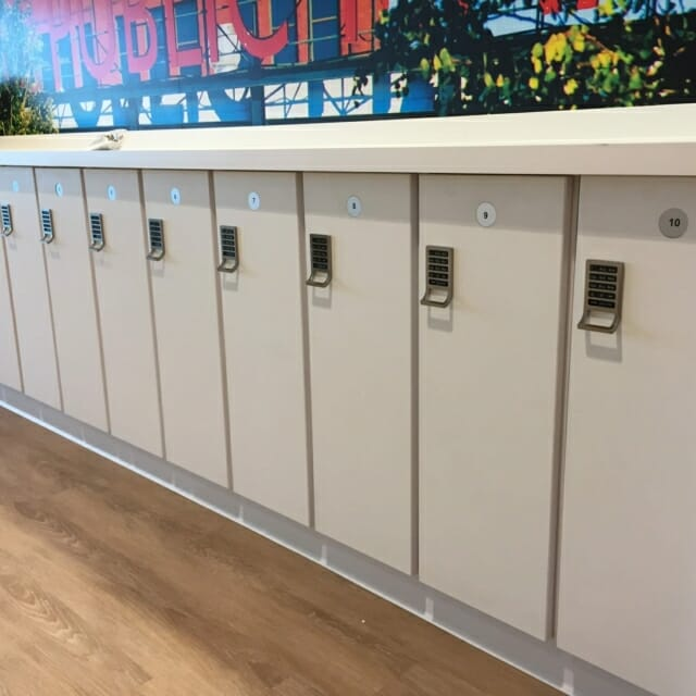 custom island with day use lockers