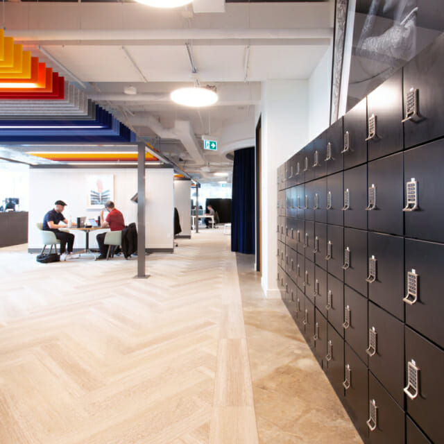 Flexible Workplace Design provides Day-Use Lockers for Employees