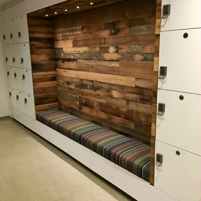 day use lockers with integrated seating and lighting
