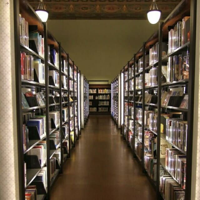 St. Louis Library with lighted library shelving