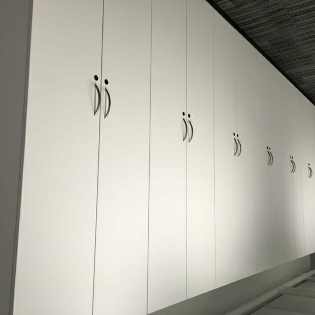 Wall Suspended Storage Wall with Modular Casework