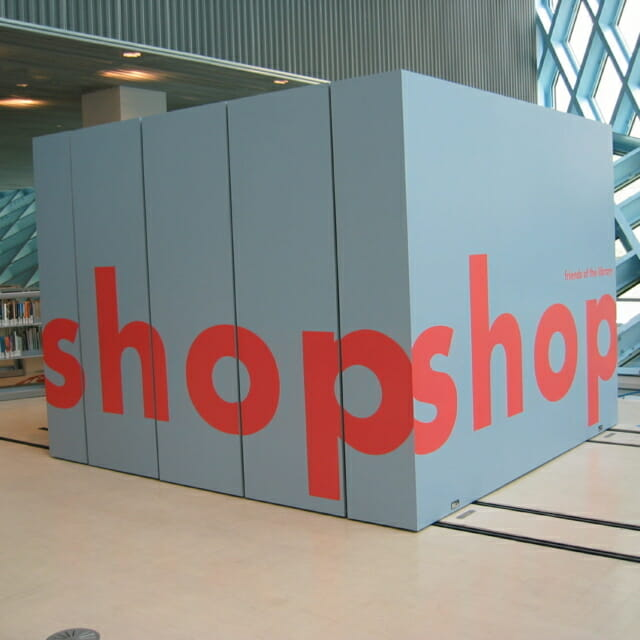 Closed Pop-Up Gift Shop Created from Movable Walls