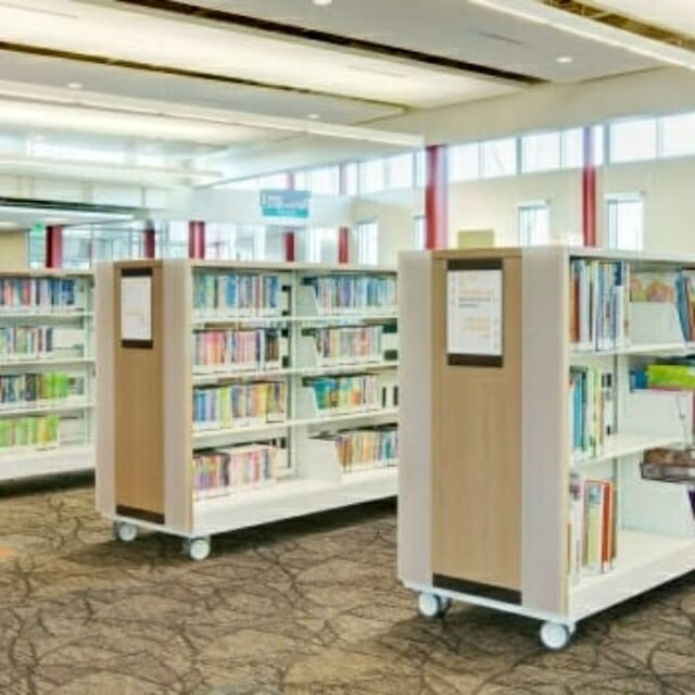 Library Shelving on Wheels for ease of movability