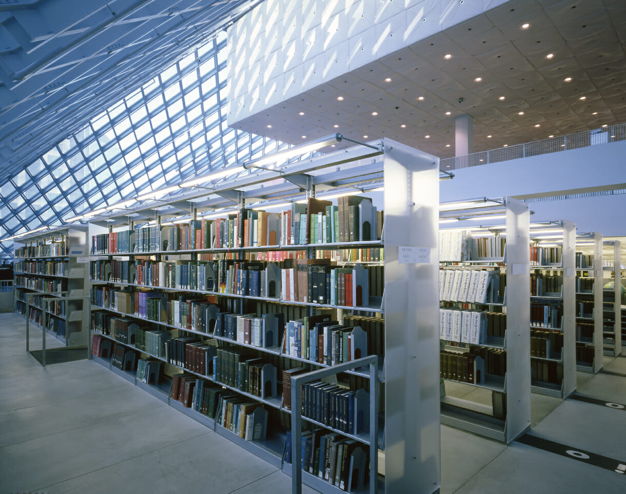 Lighting solutions in a public library why not modern office