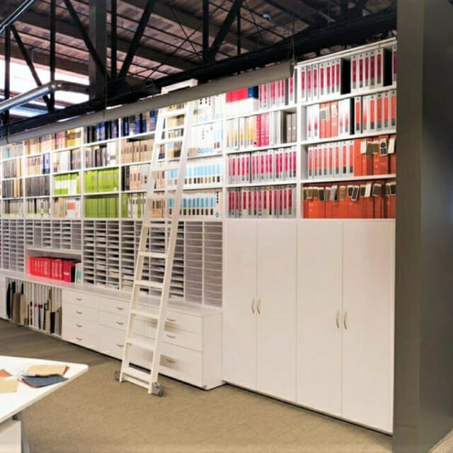 Custom Storage Wall for Design Materials and Samples