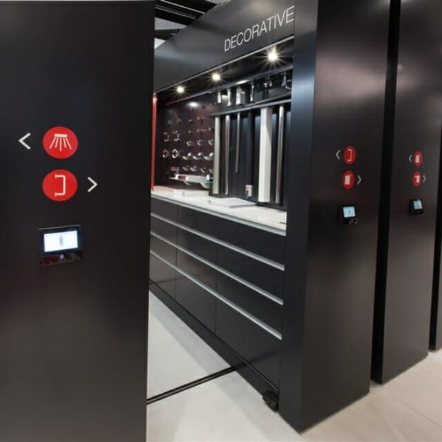Movable Walls at Modern Showroom for Display of large and small hardware