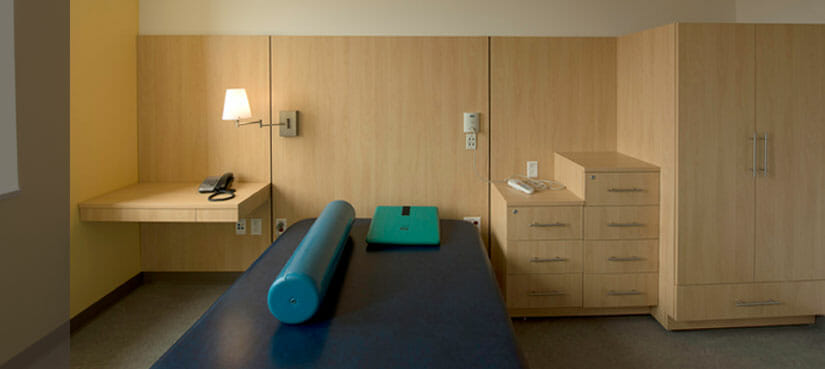 patient rooms with lockers