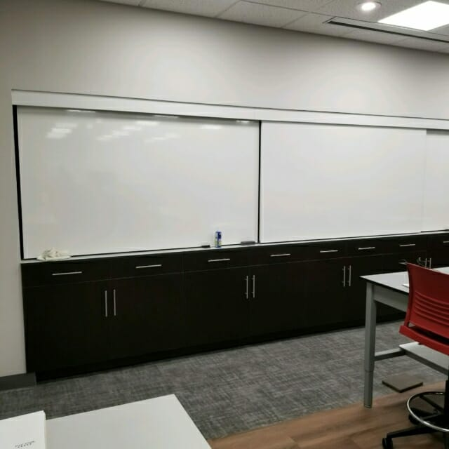 Sliding Whiteboards with modular casework
