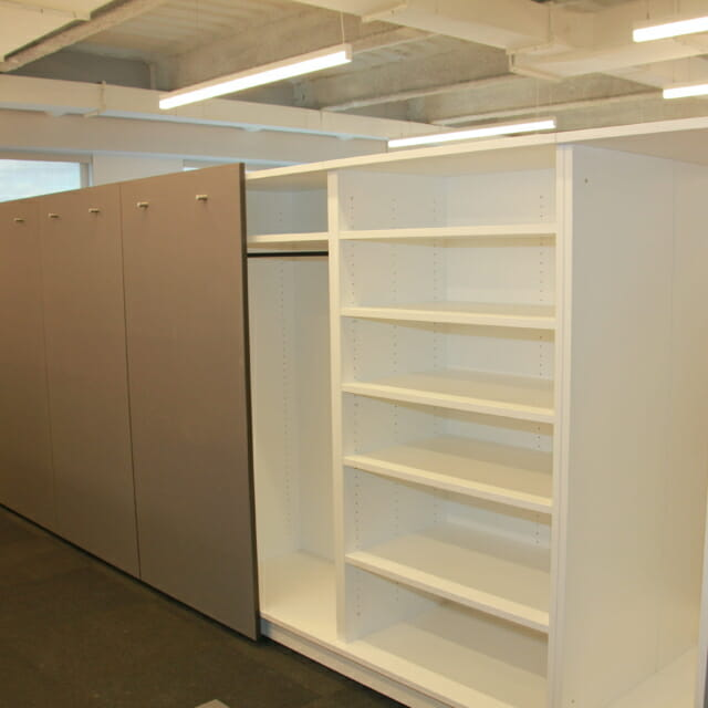 wall partition in coporate workplace sliding storage